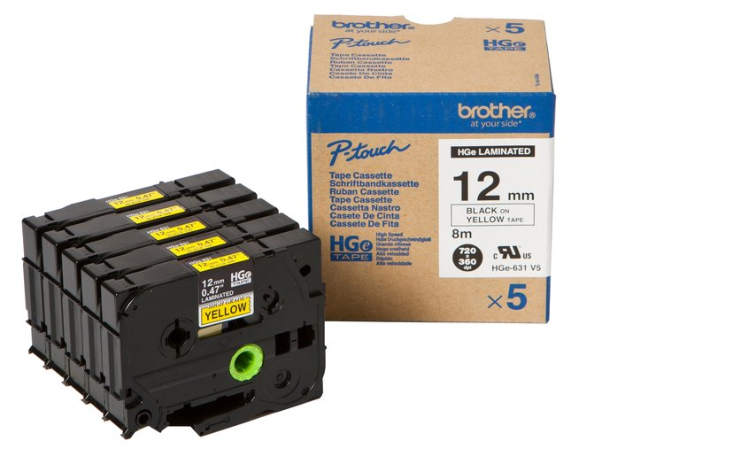 Brother Tape HGE-631V5 12mm Black/Yellow 5-Pack