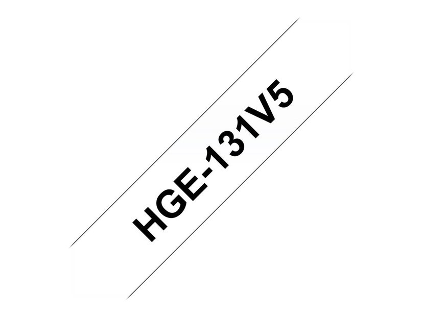 Brother Tape HGE-131V5 12mm Sort/Klar5-Pack