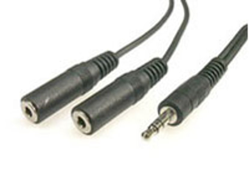 Deltaco Audio 3.5mm Male - 2X3.5mm Female 1.8m 3,5 mm-ministereojakk Hann 3,5 mm-ministereojakk Hunn
