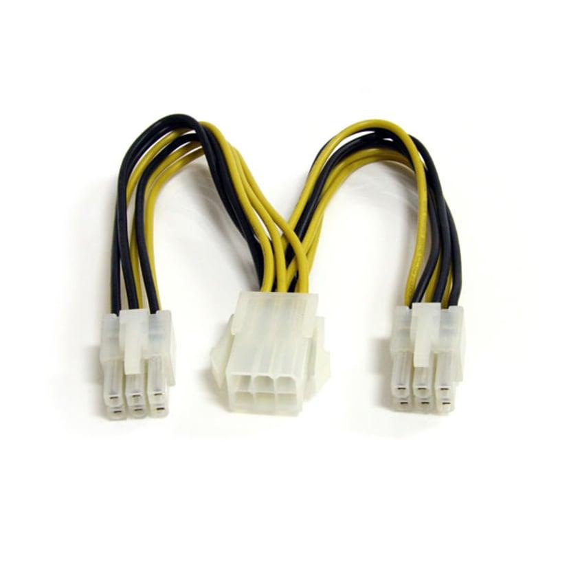 Startech PCI Express Power Splitter Cable 0.15m 6 pin PCI Express-strøm Han 6 pin PCI Express-strøm Hun