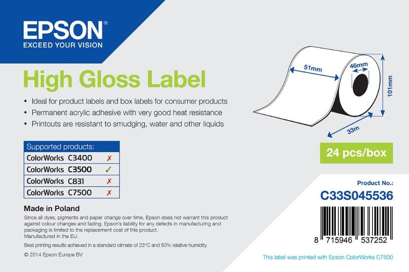 Epson Etiketter High-gloss Löpande 51mm x 33m - TM-C3500