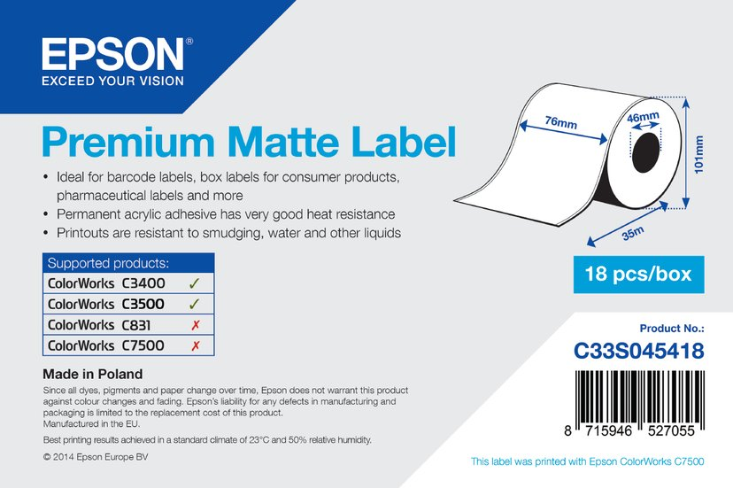Epson Etiketter Premium Matt Löpande 76mm x 35m - TM-C3400