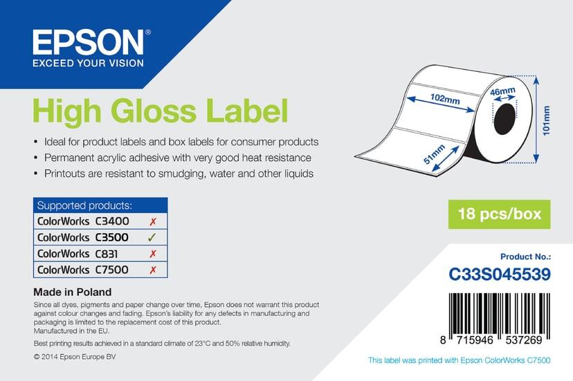 Epson Etiketter High Gloss Die-Cut 102x51mm - TM-C3500