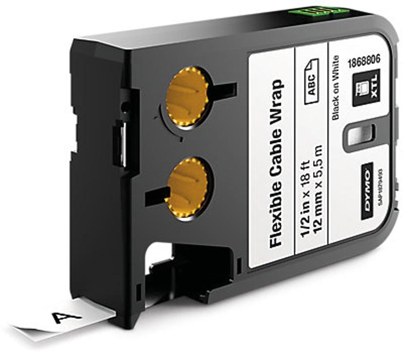 Dymo Tape Kabel Flexible 12mm Svart/Hvit - XTL