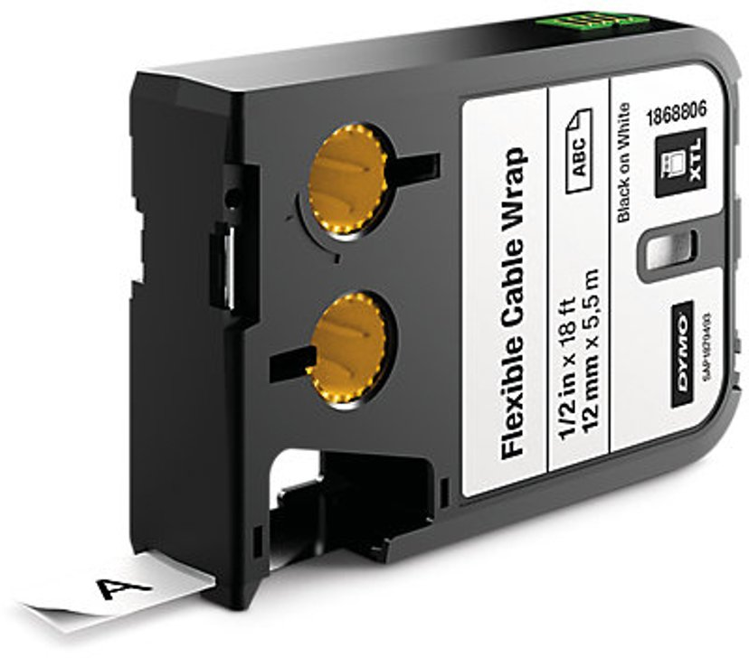 Dymo Tape Kabel Flexible 12mm Svart/Vit - XTL