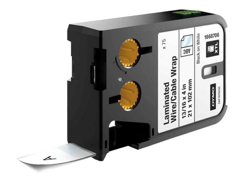 Dymo Etiketter Kabel Laminated 21 x 102mm Svart/Vit 75st - XTL