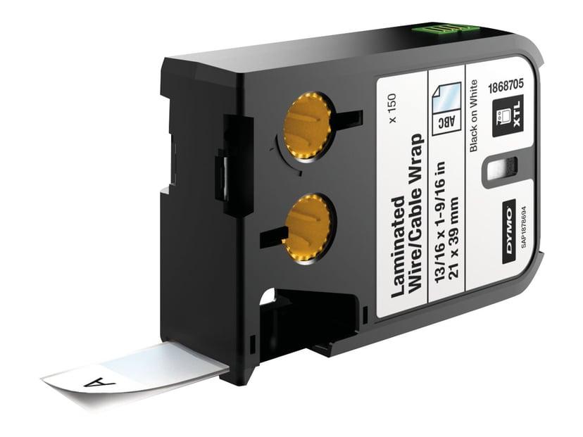 Dymo Etiketter Kabel Laminated 21 x 39mm Svart/Vit 150st - XTL