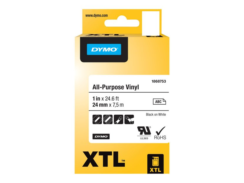 Dymo Tape Vinyl 24mm Svart/Vit - XTL