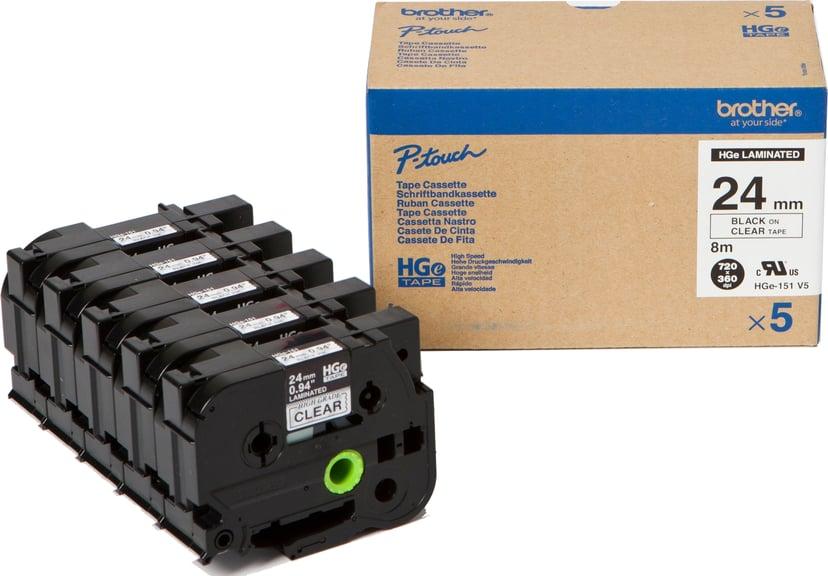 Brother Tape HGE-151V5 24mm Svart/Clear 5-Pack