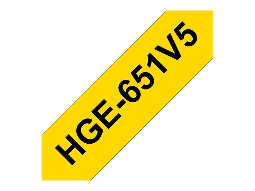 Brother Tape HGE-651V5 24mm Svart/Gul 5-Pack