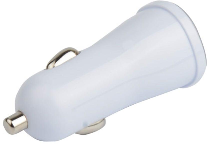 Cirafon Lader for bruk i bil 1Amp 2xUSB - Hvit Hvit
