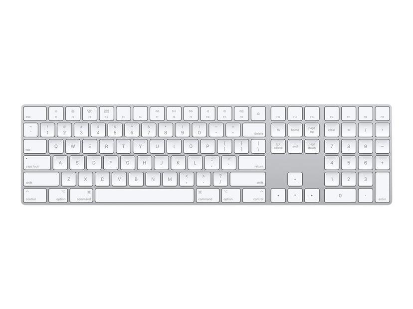 Apple Magic Keyboard with NumPad Trådløs Tastatur Dansk Hvid, Sølv