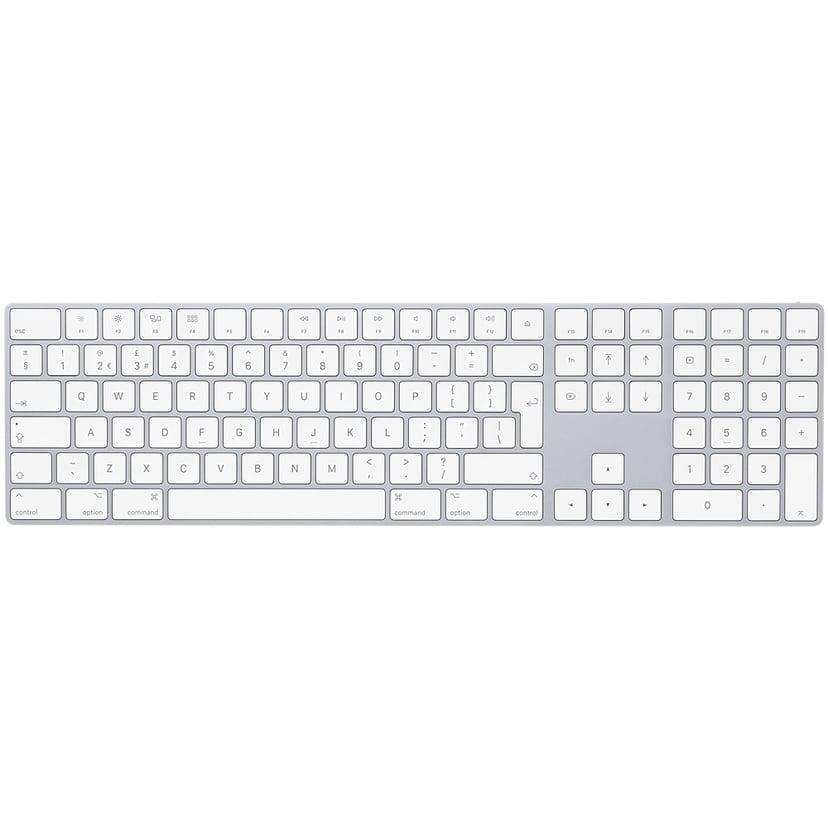 Apple Magic Keyboard with NumPad Trådlös Tangentbord Svensk Silver, Vit