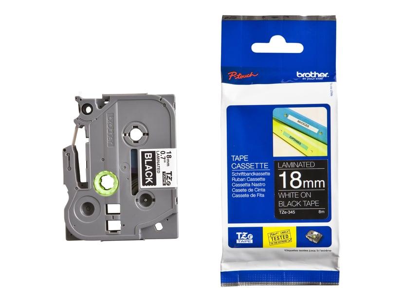 Brother Tape TZE-345 18mm Hvid/Sort