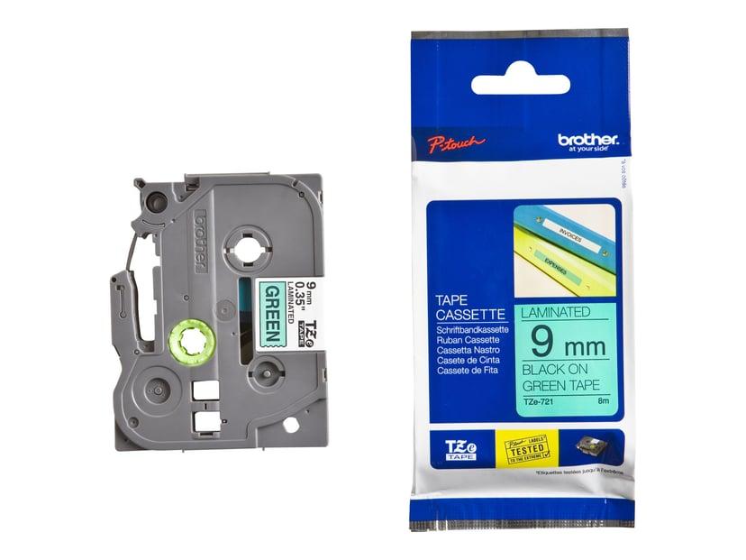 Brother Tape TZE-721 9mm Svart/Grön
