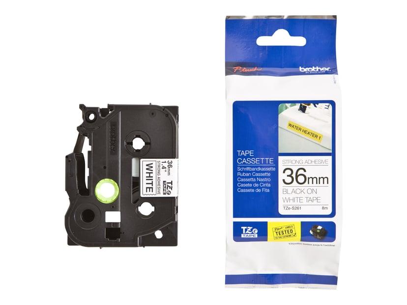 Brother Tape TZES261 36mm Svart/Hvit Botten Extra Stark