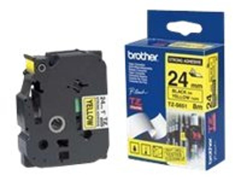 Brother Tape TZE-S651 24mm Svart/Gul Extra Stark