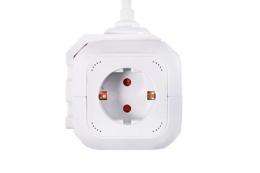 Prokord Power Cube 4X Socket + 2xUSB 2.1 mAh 3m - White 4stuks 2 x 4 pin USB Type A, Voeding CEE 7/4