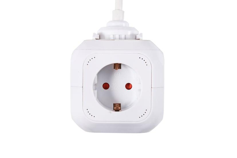 Prokord Power Cube 4X Socket + 2xUSB 2.1 mAh 1.5m - White 4st 2 x 4 pin USB Type A, CEE 7/4 strøm