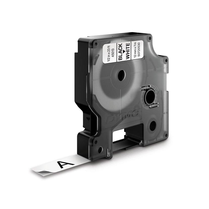 Dymo Tape D1 12mm Sort/Hvid