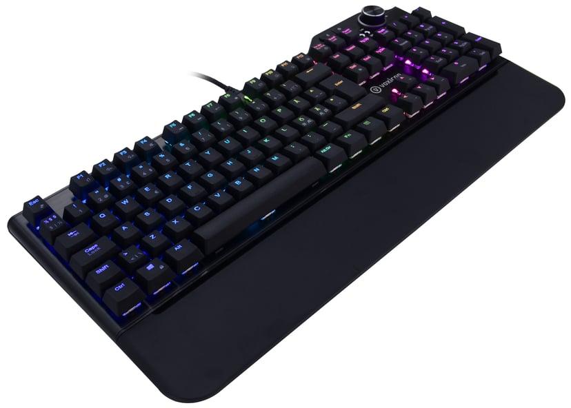Voxicon Gaming Keyboard RGB Kabling Tastatur Nordisk Sort
