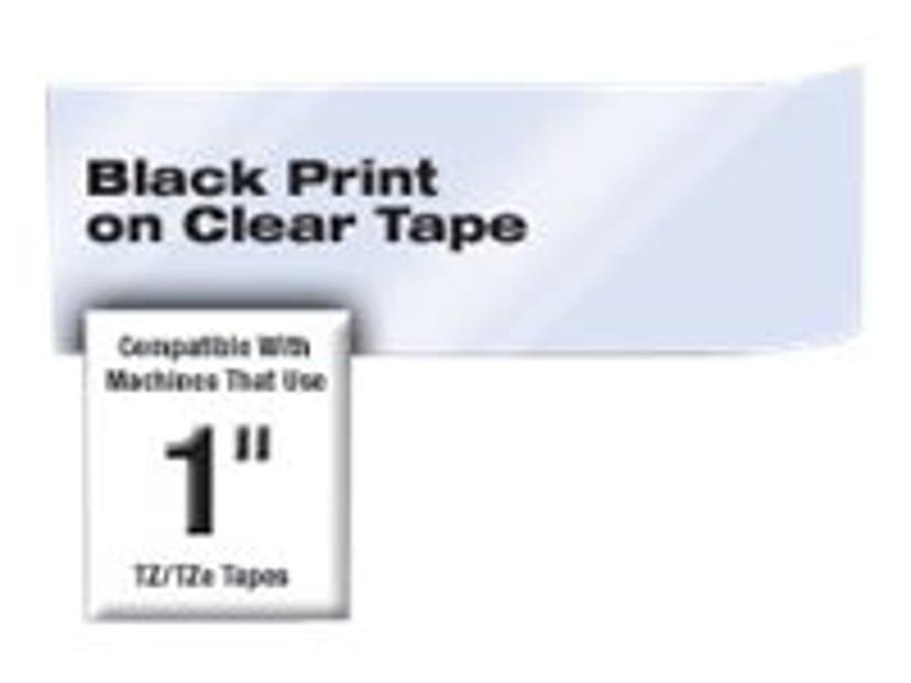 Brother Tape TZE-S151 24mm Sort/Transparent Extra Stark
