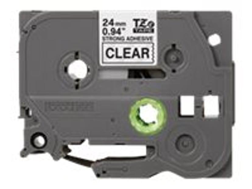 Brother Tape TZE-S151 24mm Svart/Transparent Extra Stark