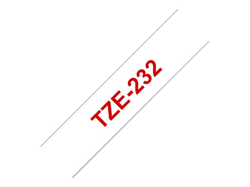 Brother Tape TZE-232 12mm Röd/Hvit