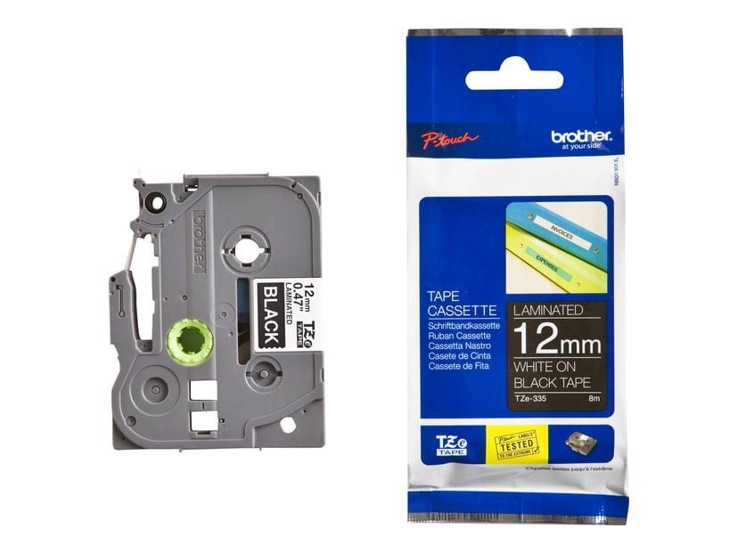 Brother Tape TZE-335 12mm Hvid/Sort