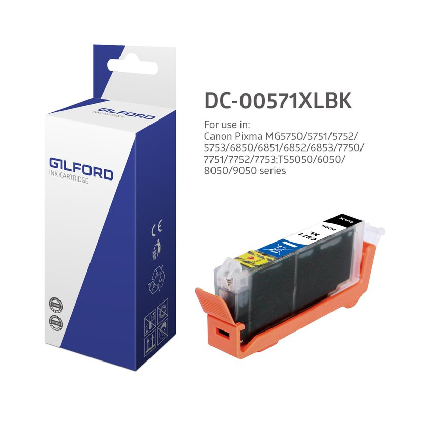 Gilford Inkt Zwart Cli-571BK Xl 11ml - 0331C001
