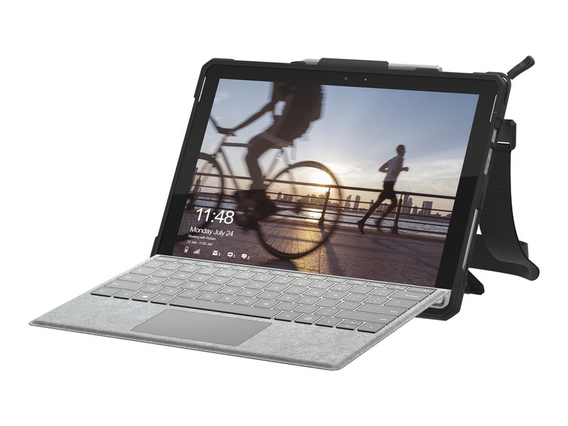 Urban Armor Gear Uag Rugged Case With Handstrap Silver, Svart Microsoft Surface Pro (2017), Microsoft Surface Pro 4, Microsoft Surface Pro 6, Microsoft Surface Pro 7, Microsoft Surface Pro 7+