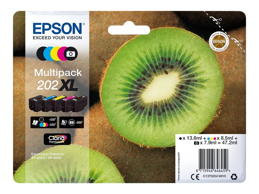 Epson Blekk Multipack (BK/C/M/Y/PBK) 202XL - XP-6005
