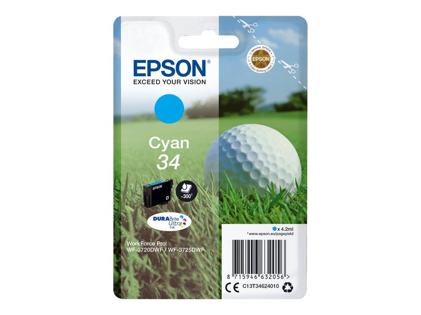 Epson Blekk Cyan 4.2ml 34 - WF-3720