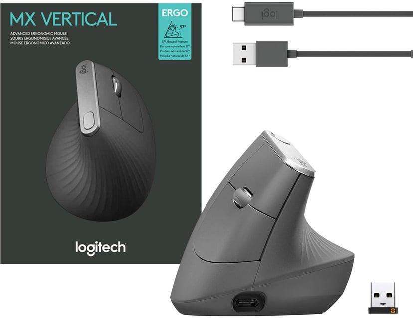 Logitech MX Vertical 4,000dpi Vertikal mus Kabelansluten, Trådlös Svart