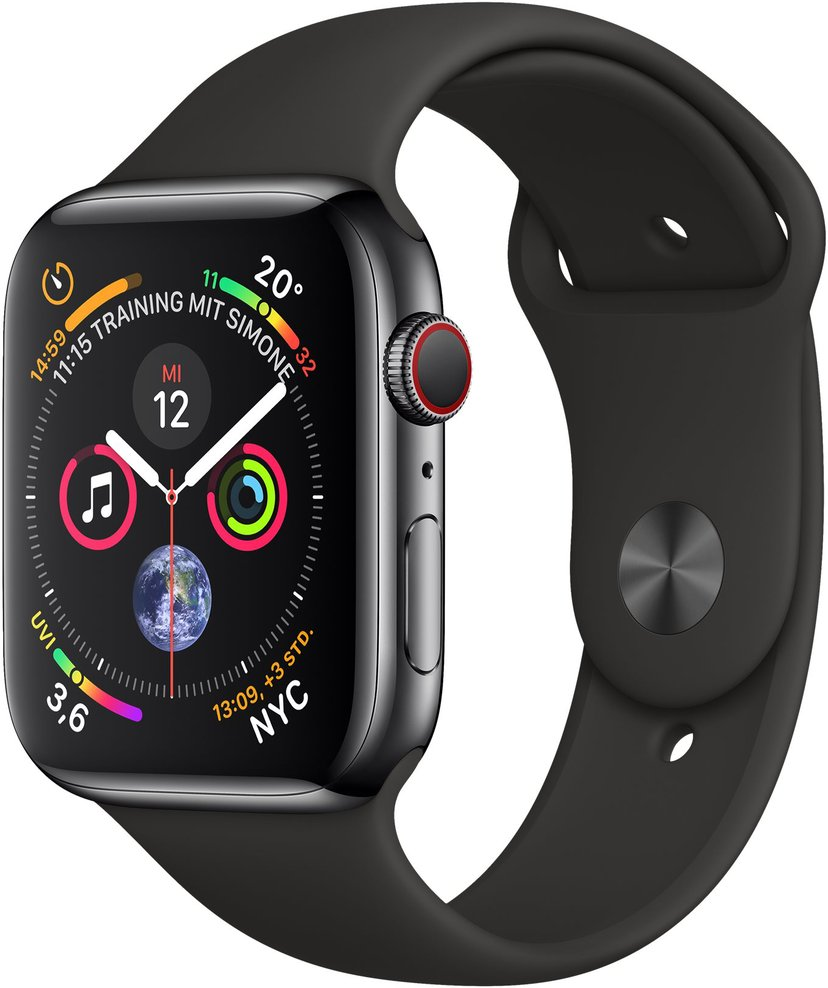 Apple Watch Series4 GPS+Cellular, 44mm Space Black Stainless Steel Case with Black Sport Band