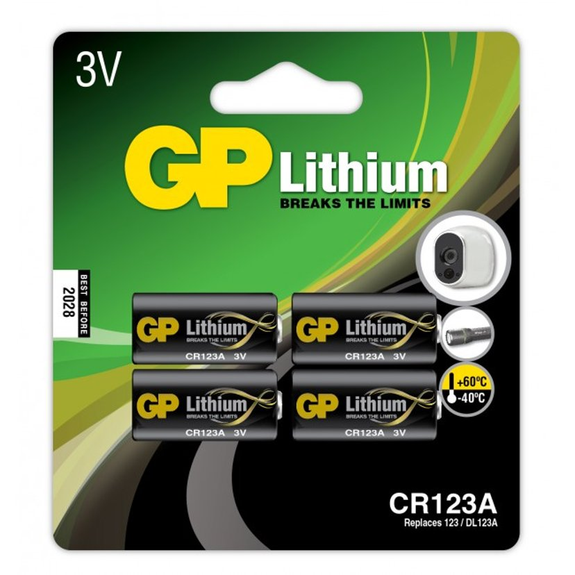 GP Battery Lithium CR123A-C1 3V 4-Pack