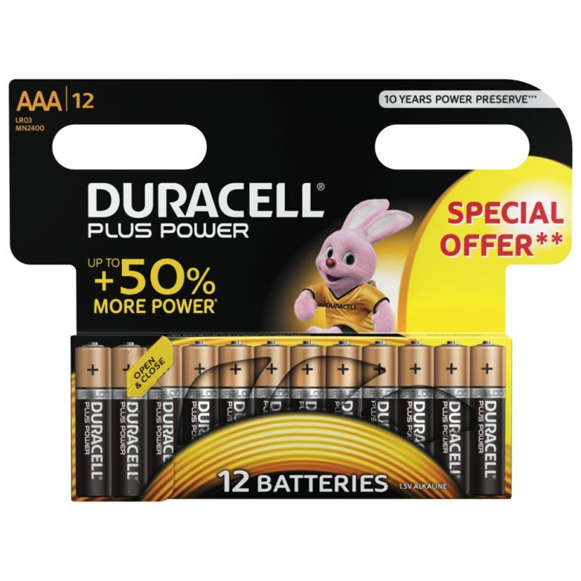 Duracell Batteri Plus Power AAA 12 stk.