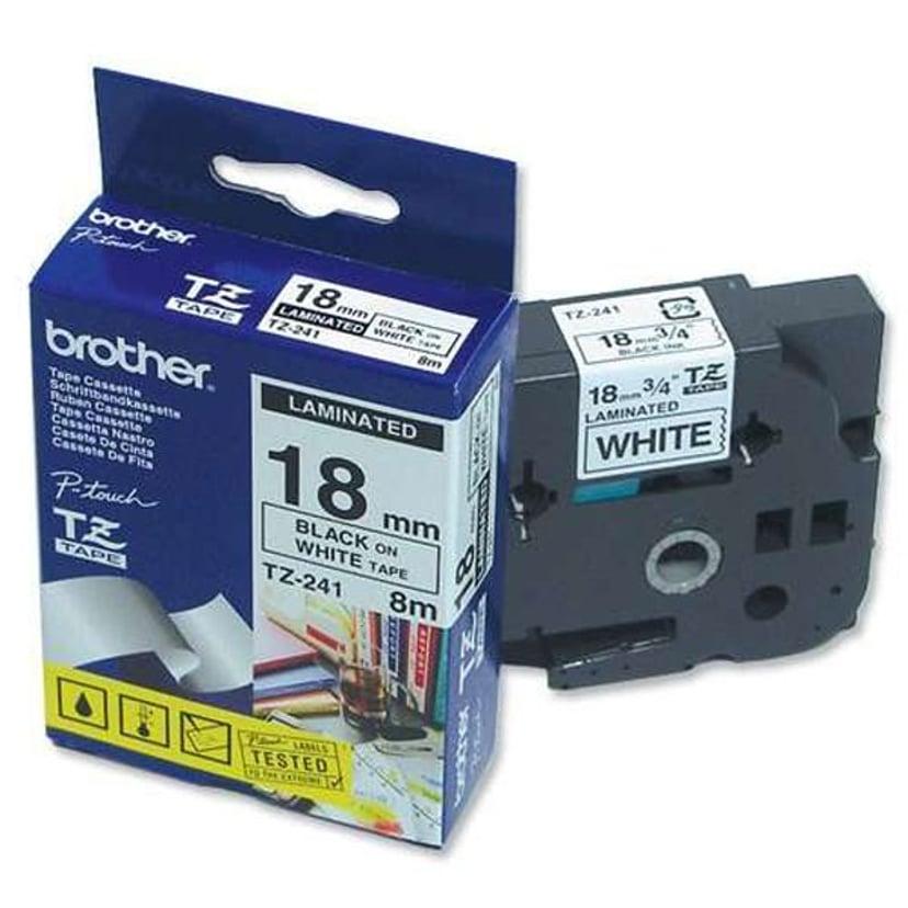 Brother Tape TZE-241 18mm Svart/Hvit