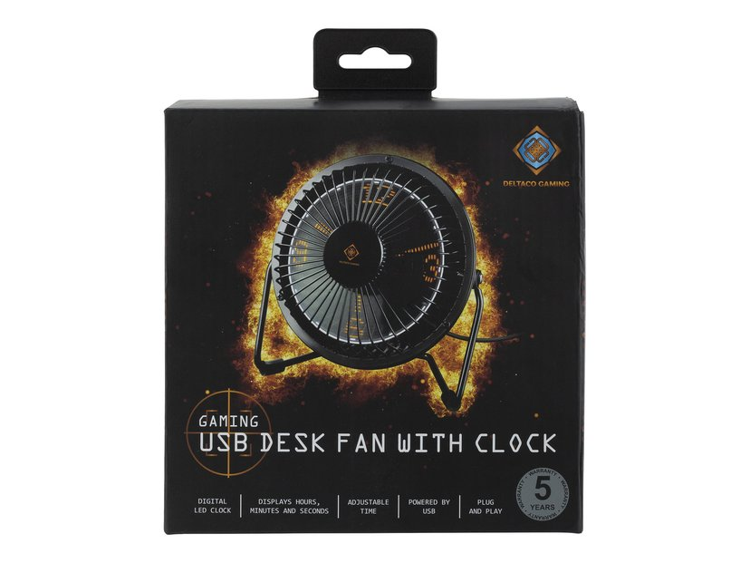 Deltaco Gaming USB Table Fan With Clock (H:M:S) Black
