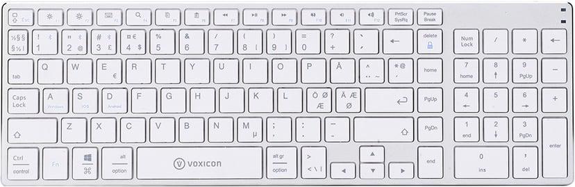 Voxicon Slim BT 300 Trådløs Tastatur Nordisk Hvit; Sølv