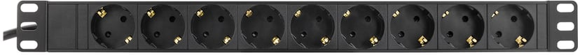 Deltaco 9Xcee 7/4 1Xcee 7/7 3m Black CEE 7/4 strøm 9st
