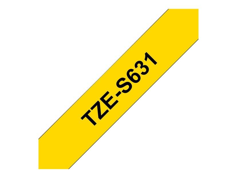 Brother Tape TZE-S631 12mm Sort/Gul Extra Stark