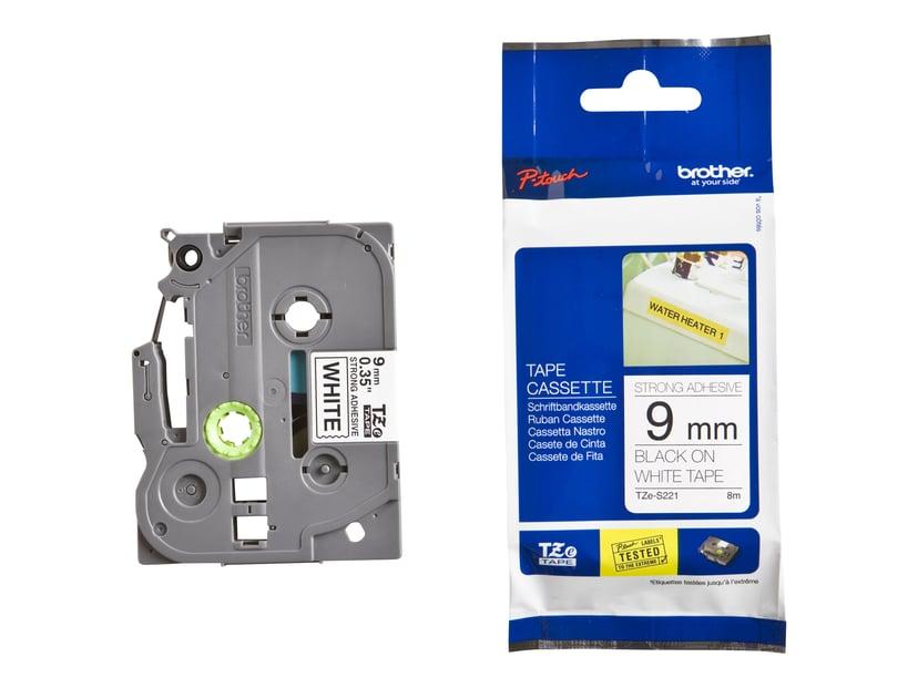 Brother Tape TZE-S221 9mm Sort/Hvid Extra Stark