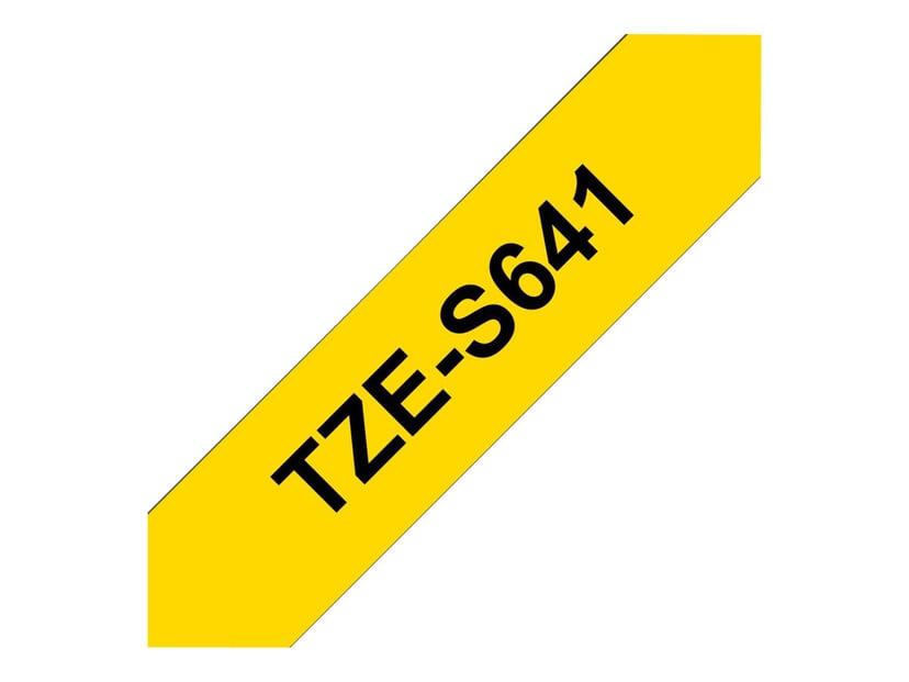 Brother Tape TZE-S641 18mm Sort/Gul Extra Stark