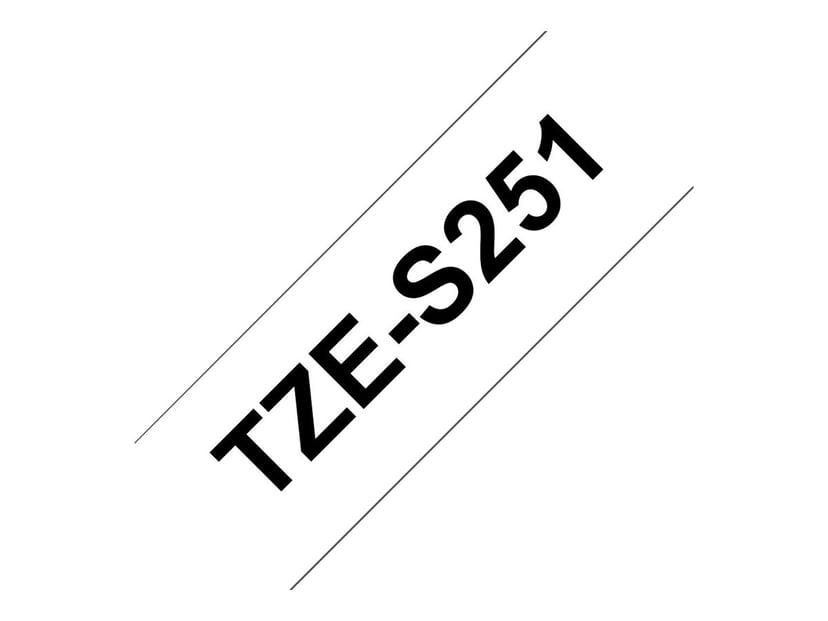 Brother Tape TZe-S251 24mm Svart/Vit Stark