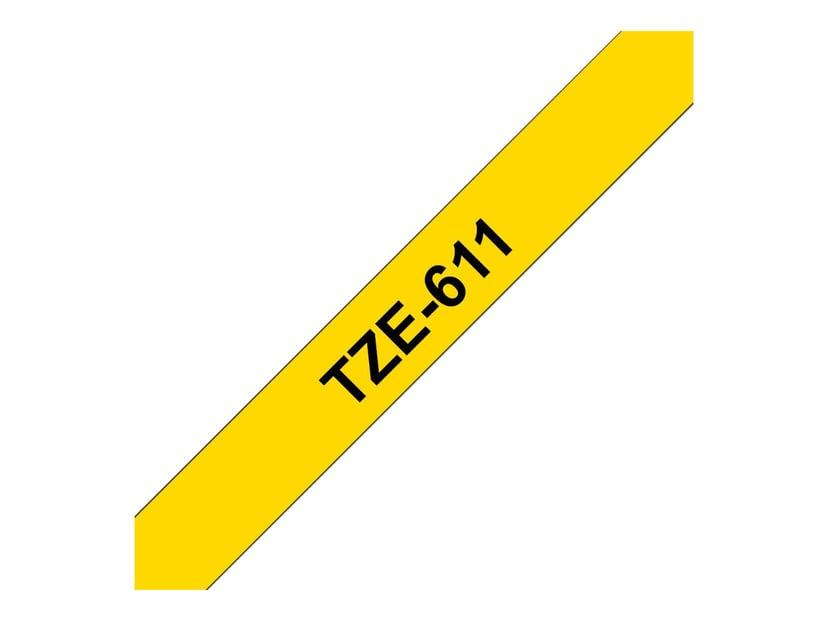 Brother Tape TZe-611 6mm Svart/Gul