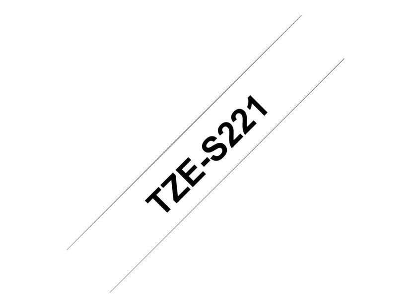 Brother Tape TZE-S221 9mm Svart/Hvit Extra Stark