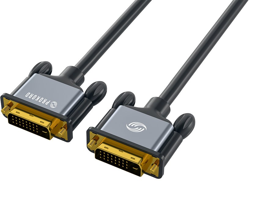 Prokord Black DVI-D Dual Link 1.0m 1m DVI-D Dual Link Male DVI-D Dual Link Male