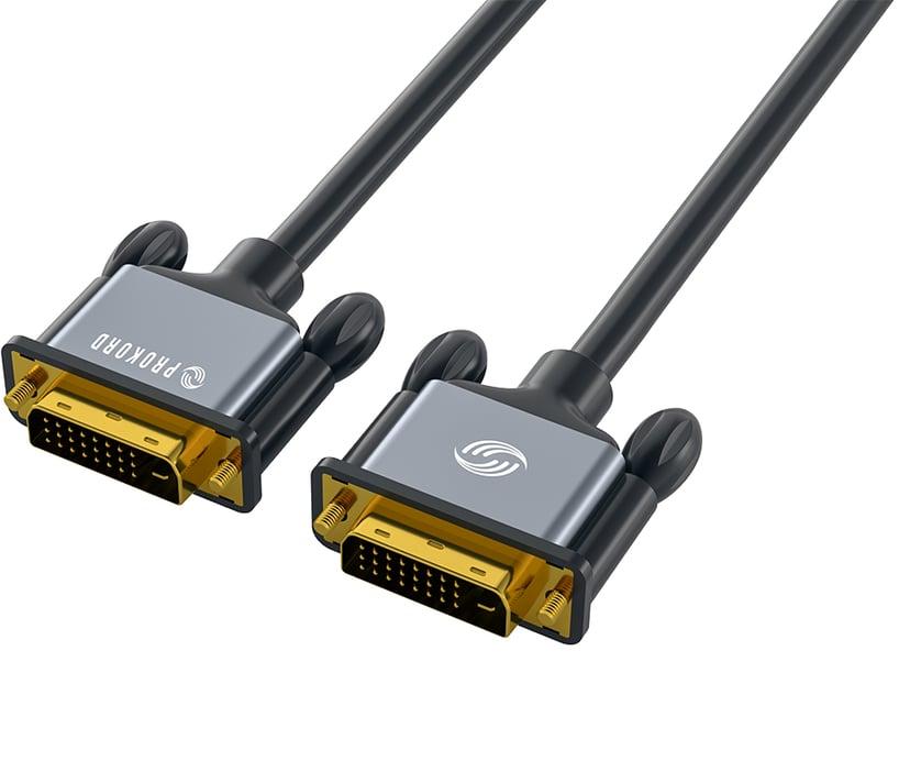 Prokord Black DVI-D Dual Link 2.0m 2m DVI-D Dual Link Male DVI-D Dual Link Male