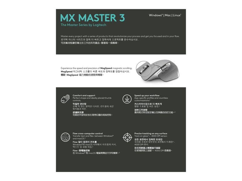 Logitech MX Master 3 Harmaa Hiiri Langaton 4,000dpi